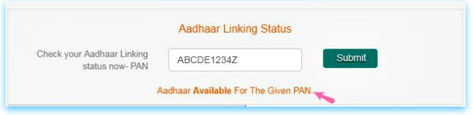 Aadhaar available for given PAN