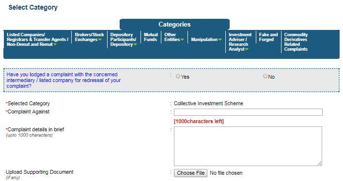 complaint registration