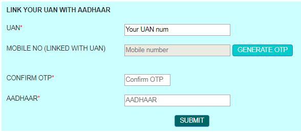 Link Your UAN with Aadhaar