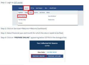 Guide to File GSTR-8 on GST Portal